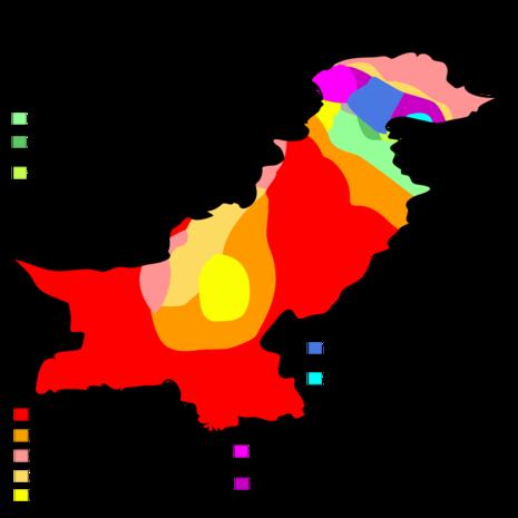 Klimazonen Pakistans nach der Köppen-Geiger-Klassifikation