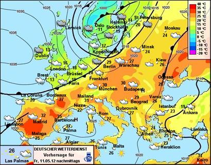 Vorhersage für Freitag, 10.05.2012