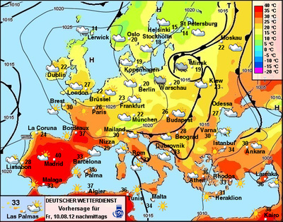 Temperaturen in Europa