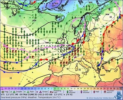 Großwetterlage in Europa für Mittwoch, 09.05.2012