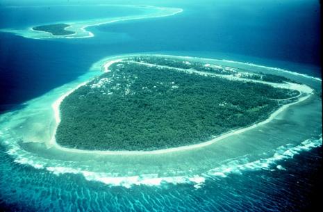 Eine Koralleninsel im Pazifik. Für Korallen stellen die saurer werdenden Ozeane ein Risiko dar, denn sie sind auf die Bildung von Kalkschalen angewiesen