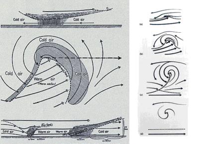 Entwicklung und Aufbau eines dynamischen Tiefdruckgebietes nach Vilhelm Bjerknes (1862-1951)