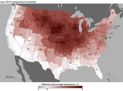 Temperaturabweichung vom langjährigen Mittel (in Fahrenheit)