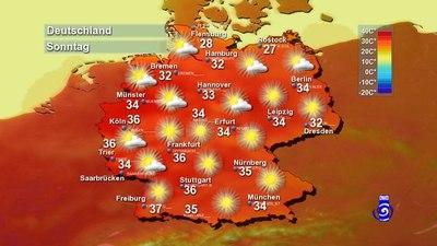 Die zu erwartenden Höchsttemperaturen am kommenden Sonntag, dem voraussichtlich heißesten Tag des Jahres.