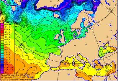 Wassertemperaturen am Mittwoch, 30.05.2012