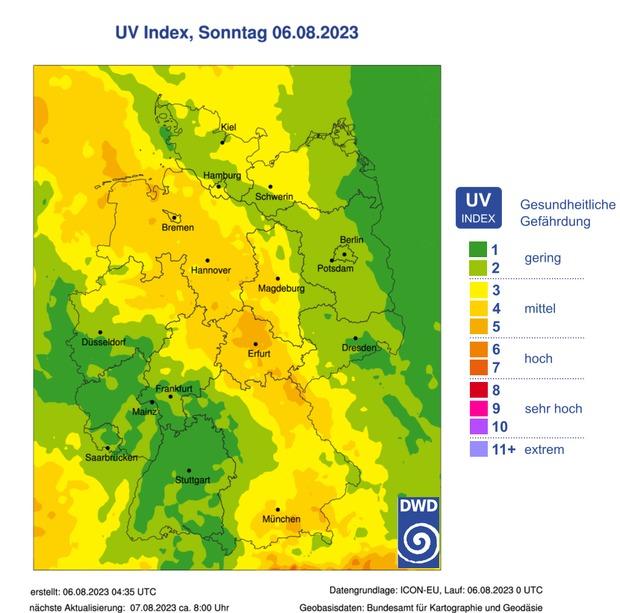 UV Vorhersage des DWD fuer heute, bitte vergroessern